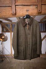 Purdey Ladies' Dark Green Check Tweed Waterproof Field Coat Size M RRP £875