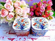 ASIAN ORIENTAL PORCELAIN CERAMIC BOX WITH LID - PHOENIX FLOWERS PORCELAIN BOXES
