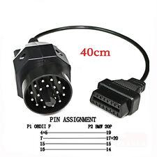For BMW OBD2 E36 E46 E38 E39 E53 X5 Z3  Scanner Cable Adapter 20 to 16 Pin Round