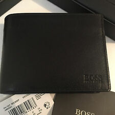 BRAND NEW DESIGNER HUGO BOSS 'AREZZO' MENS TRIFOLD BLACK LEATHER WALLET