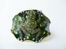Frog And Lilypad Cuff Bracelet Green Rhinestone Enamel and Gold Tone