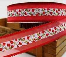 1m ribbon lace crafts Gift Wrapping decoration sewing quilting red organza NEW