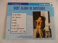 CARTE FICHE PLAISIR DE CHANTER JANE BIRKIN BABY ALONE IN BABYLONE