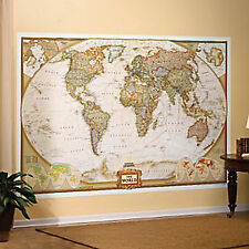 World Wall Map by National Geographic Executive Style Brown Toned Mural
