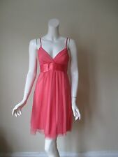 NWT Urban Outfitters LUX Coral Mesh Low V Neck Tie Waist Mini Dress 7 or S