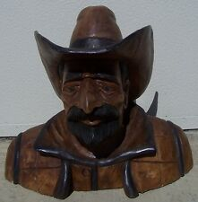 "Cowboy Bust, Hand Carved Wood, 20"" tall, sns113"