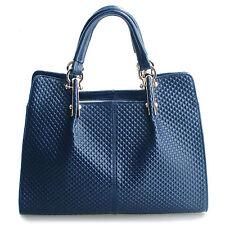 """Thompson Luxury Bags """"Melissa"""" blau Rhombus-Leder-Tasche Handtasche UVP 198€"""