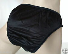 Silky Black Nylon Satin High Leg Panties Frilly Knickers UK XS 8/10