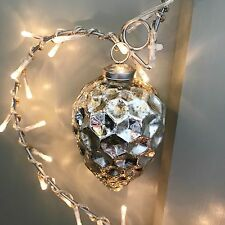 Antique Silver Teardrop Mercury Glass Bauble, Shabby Chic Xmas Decoration