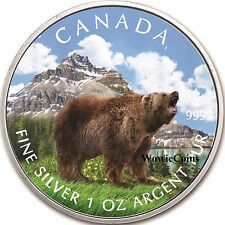 2011 Canadian 1 oz Silver Colourized Grizzly Bear Coin Wildlife Series