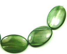 5 GREEN MOP Mother of Pearl Flat Oval Beads 20x30mm P345