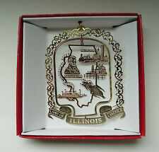 Illinois State Brass Christmas Ornament Chicago Springfield Mississippi River