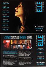 ELLE MOVIE FILM POSTCARDS X 2 ISABELLE HUPPERT PAUL VERHOEVEN