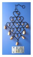 Pendente in metallo 9 cuori 16 campanelle, artigianato indiano
