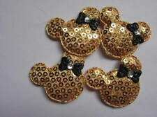10 x GOLD SEQUIN MINNIE MICKEY MOUSE HEAD APPLIQUE HEADBANDS DUMMY CLIPS BOWS