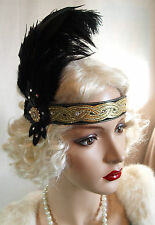 Vintage 20's Flapper Feather Headband GOLD BLACK Gatsby SWAROVSKI Downton DELUXE