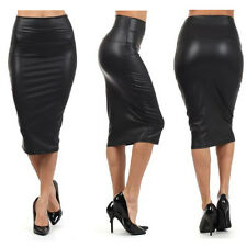 WOMENS WET LOOK FAUX LEATHER PENCIL BODYCON HIGH WAISTED MIDI SKIRT FFICE FORMAL