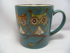 Adorable Owls Coffee Mug Cup 16 oz Stoneware Blue Cute New