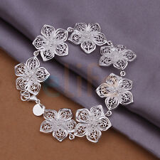 Women Sterling Plated Silver Chain Bracelet Jewelry Bangle Gift Flower Gift