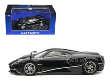 PAGANI HUAYRA BLACK WITH SILVER STRIPES 1/43 DIECAST CAR MODEL BY AUTOART 58209