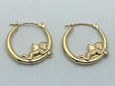 New 14K Yellow Gold Hollow Querobine Angel Round Hoop Loop Earrings 1.1 grams
