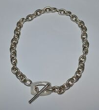 DESIGNER SINGED STERLING SILVER AND MOTHER OF PEARL LINK CHAIN NECKLACE