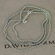 "David Yurman 1.7 MM Baby Box Chain Pendant Necklace 16"" 925 Sterling Silver"