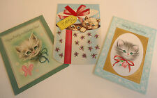 Vtg 50s/60s LOT of 3 CAT KITTY KITTEN GREETING CARDS American Greetings USED