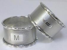 Pair of Vintage hallmarked Sterling Silver Napkin Rings – 1972  (inscribed 'M')