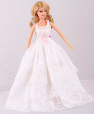 New GORGEOUS Handmade White The original soft clothes dress for barbies doll 63