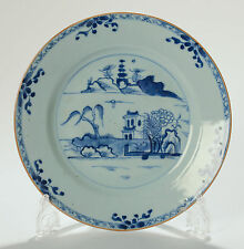 Chinese Antique Blue & White Porcelain Export Plate Waterside Scenic - Qianlong