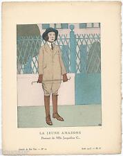 BOUTET DE MONVEL Pochoir Art Déco ORIGINAL N°10 pl. II - 1913 GAZETTE DU BON TON