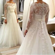 A line gown long sleeves Plus Size Bridal Wedding Dress MADE TO MEASURE NEW 4372
