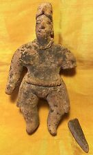 "5.5"" Pre-Columbian Colima Flat Pottery Nude Male Figure w Headdress/Loincloth"