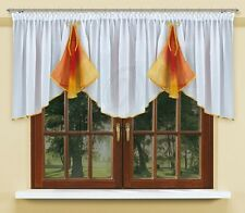 Curtain/Pelmet with trimming and made of white voile with curtain tape NEW