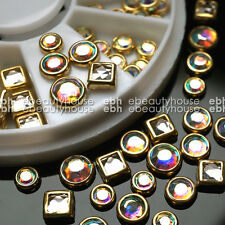 Nail Art Tips Decoration Square Round Multicolor Glitter Rhinestones #EB-080