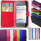 Huawei Ascend Y300 - Leather Wallet Case + Big Stylus Pen & Screen Protector