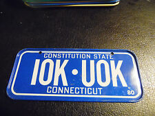 Vintage 1980 Cereal Mini Bicycle License Plate Connecticut EUC