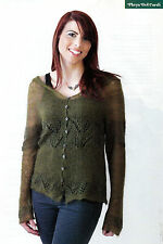 "KNITTING PATTERN LADIES 30-50"" SEAMLESS HOODED CARDIGAN LACY BANDS OKM M7A"