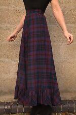 Vintage 1960s Purple Tartan Wool Long Maxi Skirt Ruffle Hem S 8