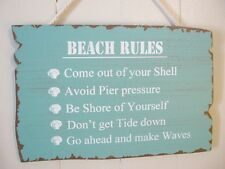 BEACH RULES SIGN Blue Aqua Wooden  New Beach Sign Wall Hanging Home Decor