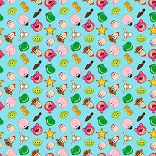 1 yard Disney  Emojiland Toy Story Character Toss  Fabric