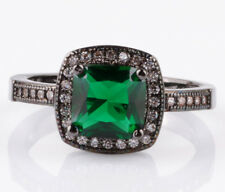 HOT Size9 emerald Square CZ Fashion Black 18K Gold Filled Rings 2.89ct BB45
