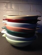VINTAGE BOONTON MELMAC MALLOWARE SOUP BOWLS WITH WING HANDLES SET OF SEVEN U.S.A