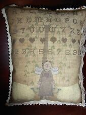 Fabric ShelF SiTTer FolK ArT AnGel RaGGedyAnnie X Stitch Sampler Primitive DecoR