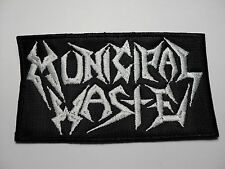 MUNICIPAL WASTE  WHITE LOGO EMBROIDERED PATCH