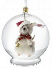 STEIFF Christmas Mouse In Glass Bauble ORNAMENT Mohair L/Edit EAN021657 NEW NRFB
