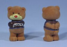 """* 2 M&M Mars Snickers 2.5"""" Flocked Fuzzy Chocolate Chums HBB Cute TWIN BEARS NEW"""