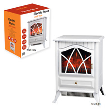 1.8KW White Log Burning Flame Effect 1850W Electric Fire Heater Fireplace Stove