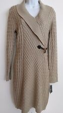 Ellen Tracy Womens Khaki L/S 100% Acrylic Sweater Dress Sz L Free Shipping